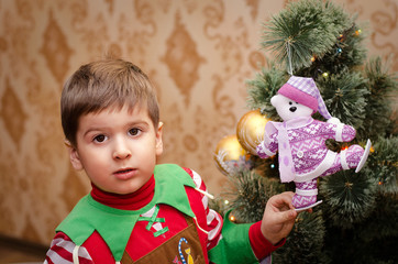 boy with Christmas toy