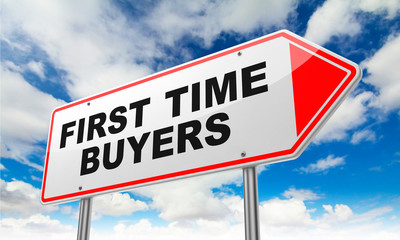 First Time Buyers on Red Road Sign.