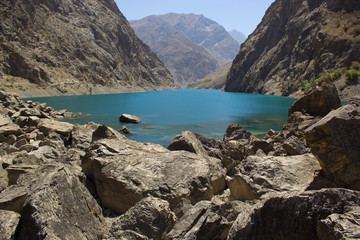 lake in high mountains in central Asia, Tajikistan