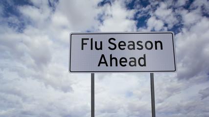 Flu Season Ahead Sign Clouds Timelapse