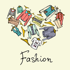 Stylized heart with fashionable clothes for women