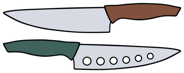 Hand drawing of tvo kitchen knifes