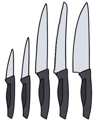 Hand drawing of a kitchen knifes set