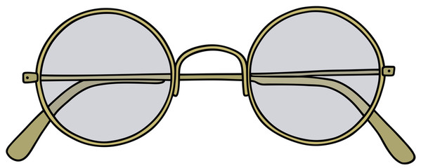 Hand drawing of a golden glasses