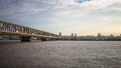 Panoramic City View with Pancevo bridge across Danube river - Be