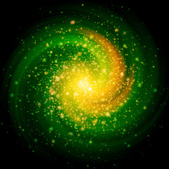 Green Burst With Twirl And Sparkles Background