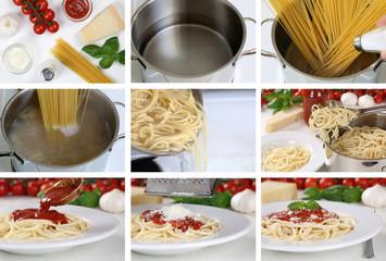 Spaghetti Nudeln Pasta mit Tomaten Sauce kochen: Anleitung Schri