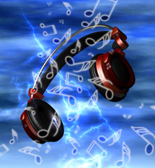 Realistic headphones with music notes
