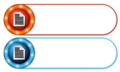 set of two buttons with document icon
