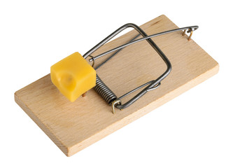 Mouse trap isolated on a white, clipping path