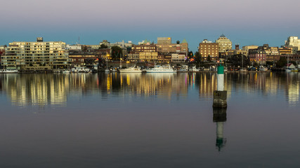 The Inner Harbor in Victoria at Dusk