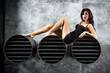 Portrait Of Sexy Woman On a dark metallic Background