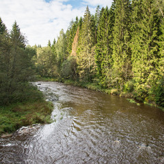 view to the Mountain river with Flowing Water Stream and sandsto