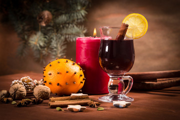Glass with mulled wine