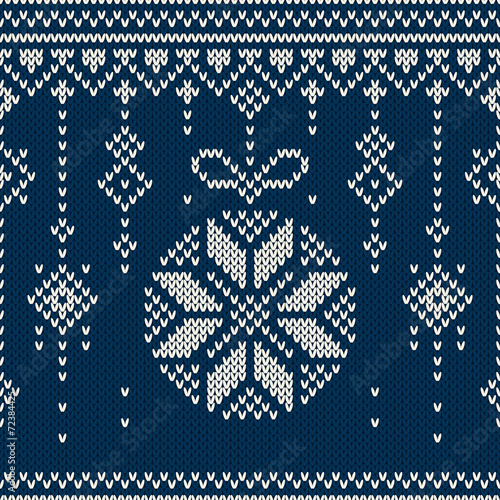 Cotton fabric Winter Holiday Seamless Knitting Pattern with Christmas Balls