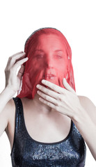 Woman covered with a red veil