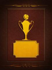 POKAL- Gold - Leder - Ornament