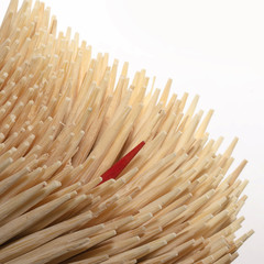 Red colored toothpick different with others.