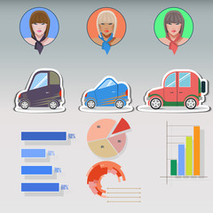 Woman and car infographics. flat icons