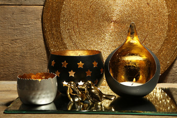 Beautiful candlesticks and other decorations for home interior