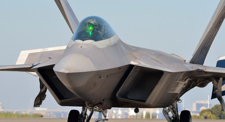 F-22 Raptor Taxiing on Runway