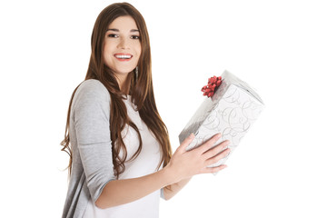 Teen holding a present