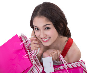 Beautiful Asia woman happy smile hold new year gift box present