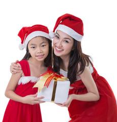 Beautiful Asia woman and girl wear Santa Clause costume