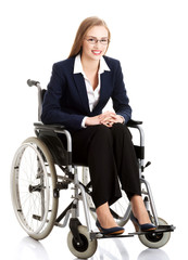 Smiling businesswoman on a wheelchair