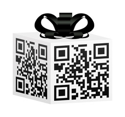 QR Code Gift Box with Black Bow