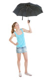 sexy lass wearing jeans mini-skirt with black umbrella poster