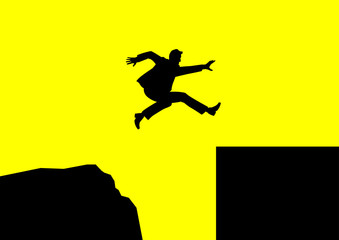 Man jumping over rough terrain to smooth terrain