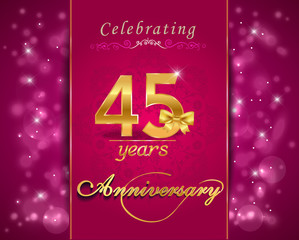 45 year anniversary celebration sparkling card, 45th anniversary