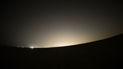 night outside jeddah city time lapse with fisheye lens