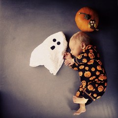Happy halloween baby ghost pumpkin
