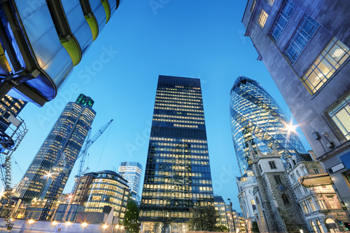 Skyscrapers at the City of London at night. - 72390070