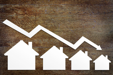 Concept of real estate sales fall