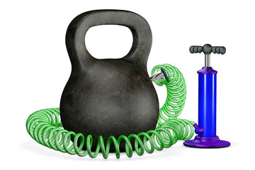 Pumps up air in a dumbbells