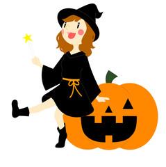 ハロウィン かぼちゃに座る魔女