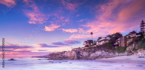 Poster Strand Laguna Beach in Calfornia at sunset
