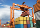 Containers ar at the harbor,Export and forklift.