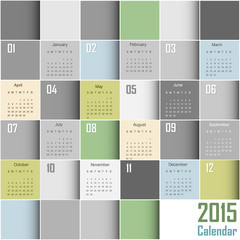 Abstract Squares Calendar 2015 - Week start at sunday