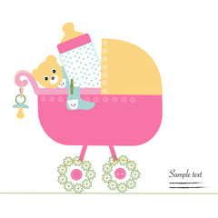 Baby stroller with bottle, soother, socks and teedy bear vector