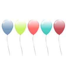 Five multicolor balloons isolated on white background