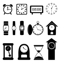 Set of black clocks isolated on white background