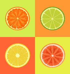 Citrus on different colors backgrounds