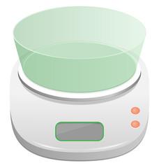 White electronic kitchen scale isolated on white background