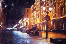 """Постер, картина, фотообои """"city pedestrian street night city lights"""""""