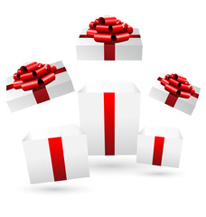 Three opened grayscale gift boxes with red bows on grayscale