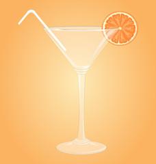 Empty glass for martini with orange and plastic tube on orange
